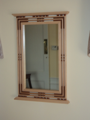 Handcrafted Arts and Crafts Mission/Prairie Style Sycamore & Cherry Mirror | Mirrors